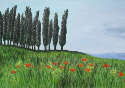 ©Julie Schofield, San Quirico Orcia, Cyprus and Poppies, Acryilic on Canvas, 20 x 60cm