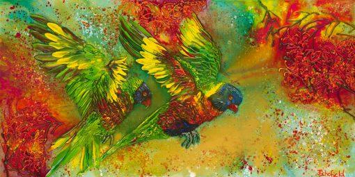 ©Julie Schofield, Rainbow Lorikeets Crazy for Grevilleas, Acryilic on Canvas, 61 x 122cm