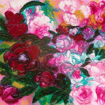 ©Julie Schofield, Peonies-Aix-en-Provence-Flower-Market, Acrylic on Canvas, 36 x 51cm