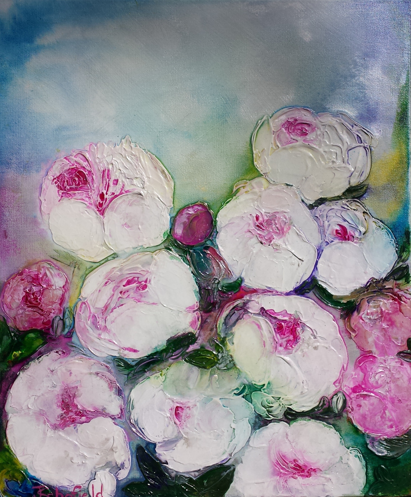 Peonies in spring by Julie Schofield