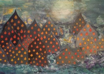 ©Julie Schofield, Ubud Awakening - rising fire from the cosmic sea, Acrylic on Canvas, 41 x 122cm
