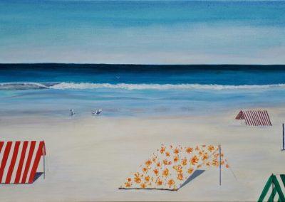 ©Julie Schofield, Moana Beach Shelters, Acrylic on Canvas, 51 x 102cm
