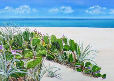 ©Julie Schofield, Beach Bean Dreaming, Acrylic on Canvas, 110 x 55cm