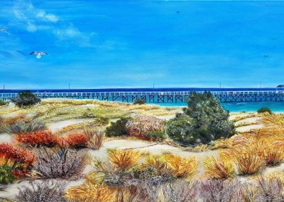 ©Julie Schofield, Grange Beach and Jetty, Acrylic on Canvas, 122 x 61cm