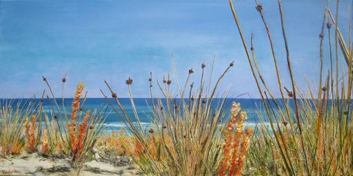 ©Julie Schofield, Coastal Wandering, Acrylic on Canvas, 55 x 110cm
