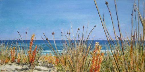 ©Julie Schofield, Coastal Wandering, Acrylic on Canvas, 55 x 110cm