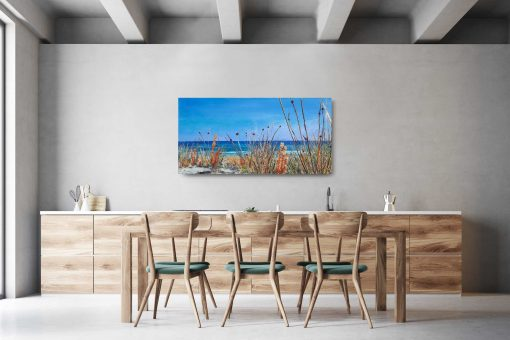 ©Julie Schofield, Coastal Wandering, Acrylic on Canvas, 55 x 110cm_ on wall