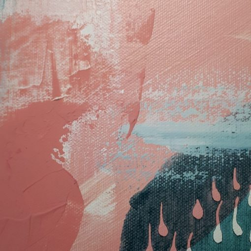 ©Julie Schofield, Pink n Teal Acrylic on Canvas, 30.5 x 30.5 x 3.5cm_close up detail