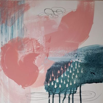 ©Julie Schofield, Pink n Teal Acrylic on Canvas, 30.5 x 30.5 x 3.5cm_