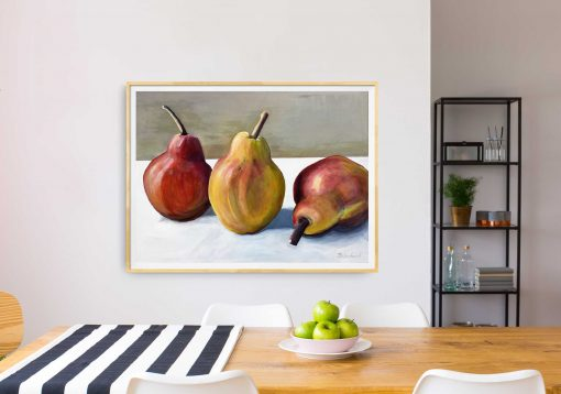 ©Julie Schofield, Golden Russet Pears, Acrylic on Canvas, 90 x 120cm_on wall