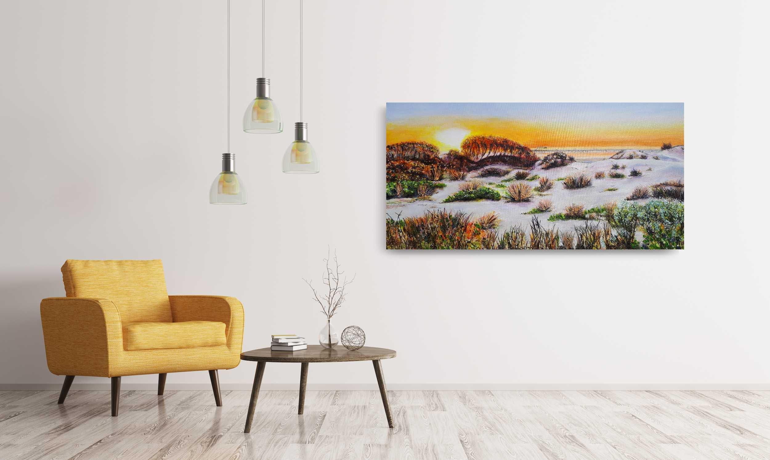 ©Julie Schofield, Golden Evening, Acrylic on Canvas, 45.5 x 91cm